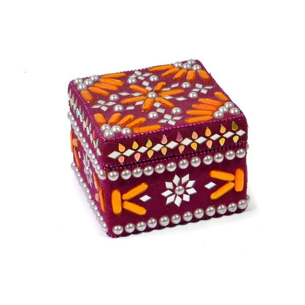 Drevená šperkovnica zdobená korálkami Manípur