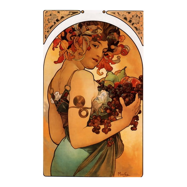 Obraz Alfons Mucha Fruit, 90x60 cm