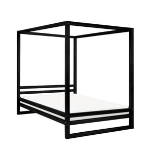 Čierna drevená dvojlôžková posteľ Benlemi Baldee, 200 × 180 cm
