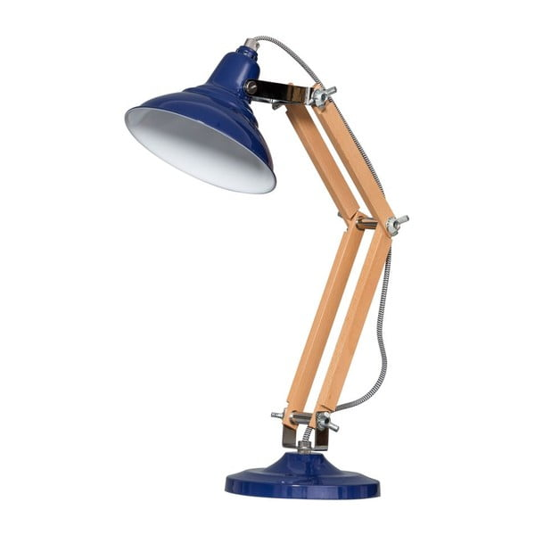 Drevená stolová lampa s modrým tienidlom ETH Calia