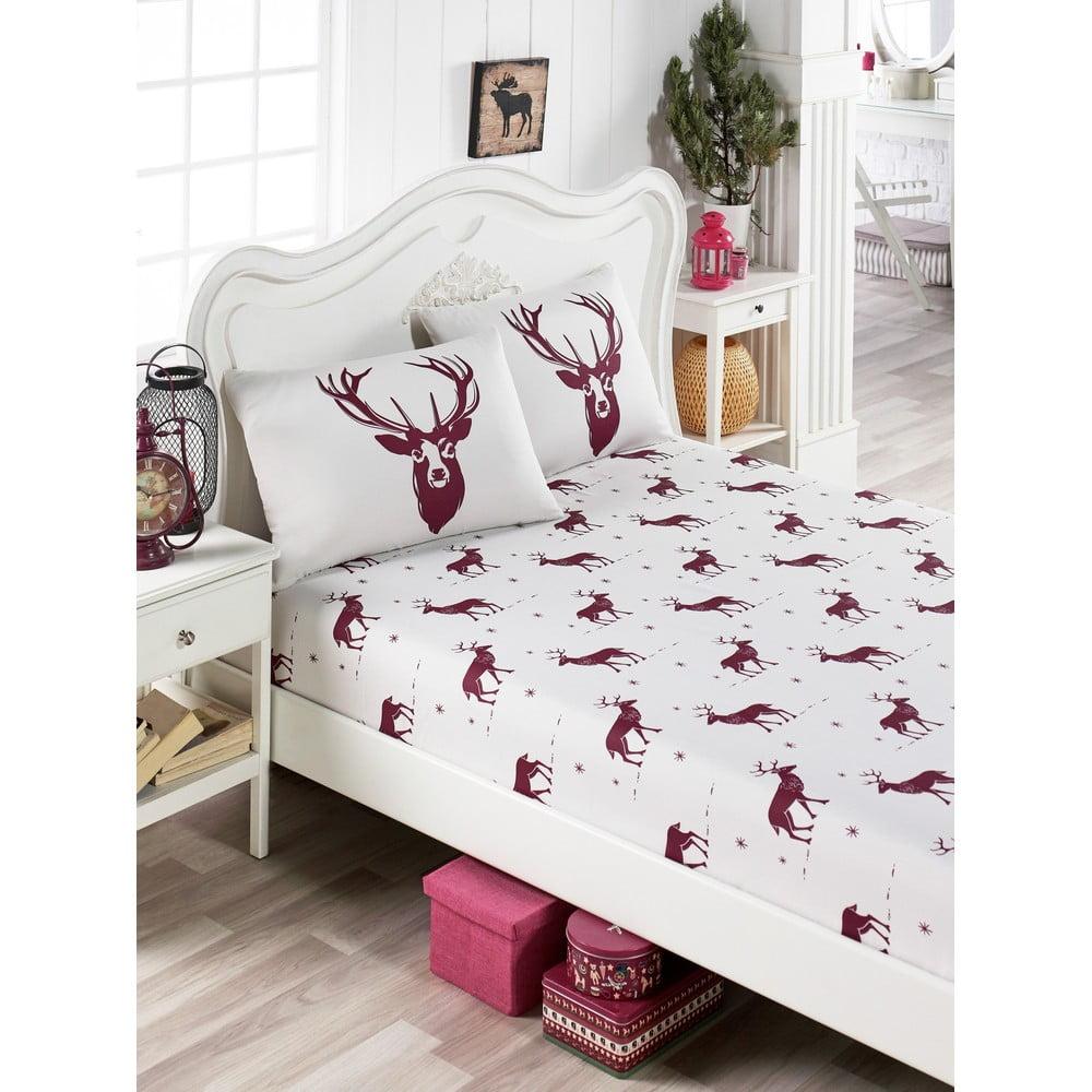 Set obliečky a 2 obliečok na vankúše s prímesou bavlny na dvojlôžko EnLora Home Geyik Claret Red, 160 × 200 cm