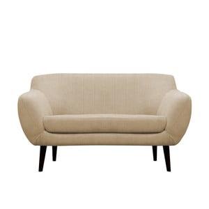 Béžová pohovka pre dvoch Mazzini Sofas Toscane, čierne nohy