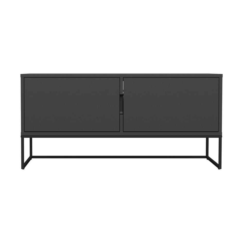 Čierny dvojdverový TV stolík s kovovými nohami v čiernej farbe Tenzo Lipp, šírka 118 cm