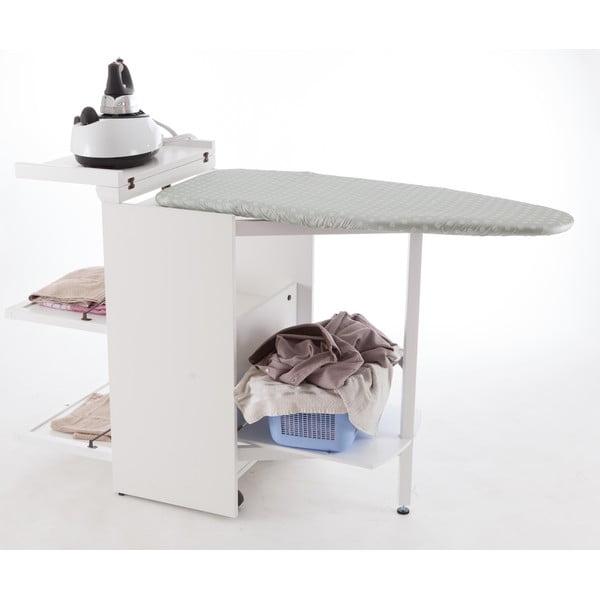 Biela skladacia žehliaca doska z bukového dreva so zásuvkami Arredamenti Italia Stiromobile