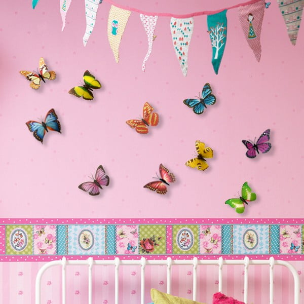 Trojrozmerné samolepky motýlikov, farebné