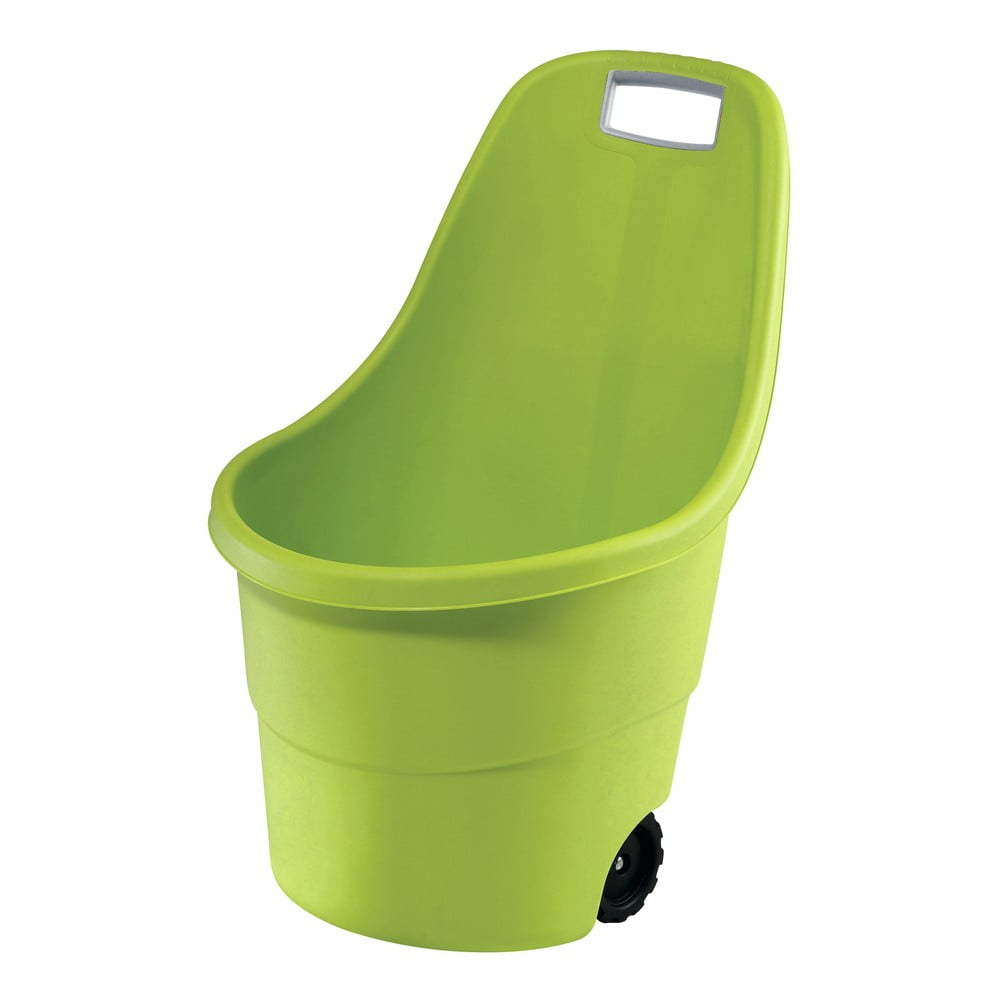 Zelený záhradný odpadkový kôš na kolieskach Keter, 55 l