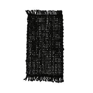 Čierny jutový koberec Simla Tassel, 170 × 130 cm