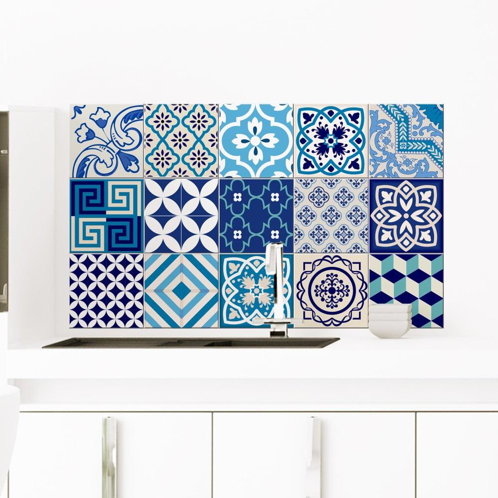 Sada 15 dekoratívnych samolepiek na stenu Ambiance Azur, 10 × 10 cm