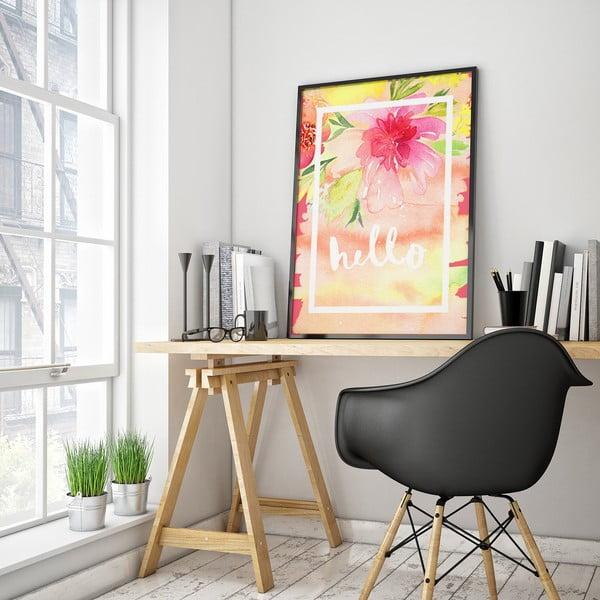 Plagát s ružovými kvetmi Hello, 30 x 40 cm