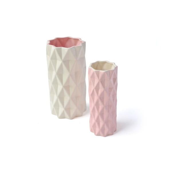 Ružovo-biela váza Hawke&Thorn, výška22cm