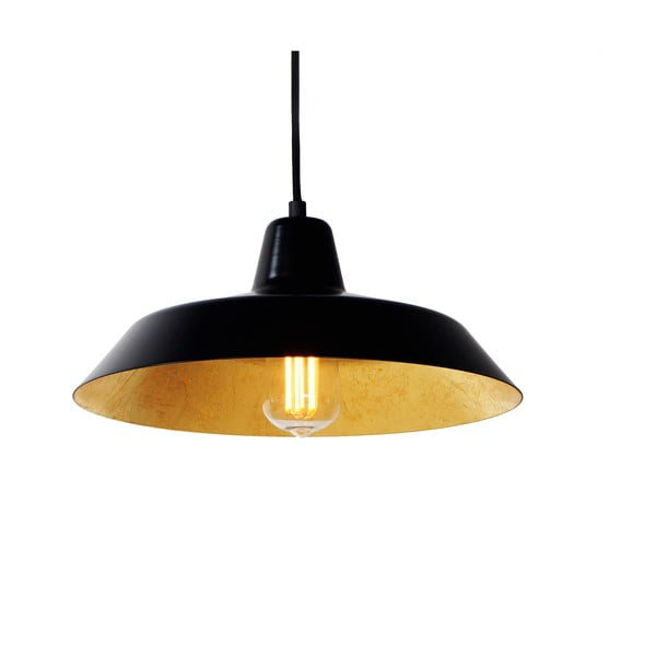 Čierne stropné svietidlo s detailom v zlatej farbe Bulb Attack Cinco