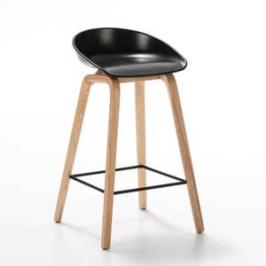 Čierna barová stolička z jasaňového dreva Thai Natura