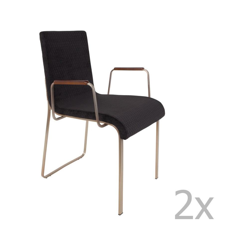 Sada 2 čiernych stoličiek s opierkami na ruky Dutchbone Fiore