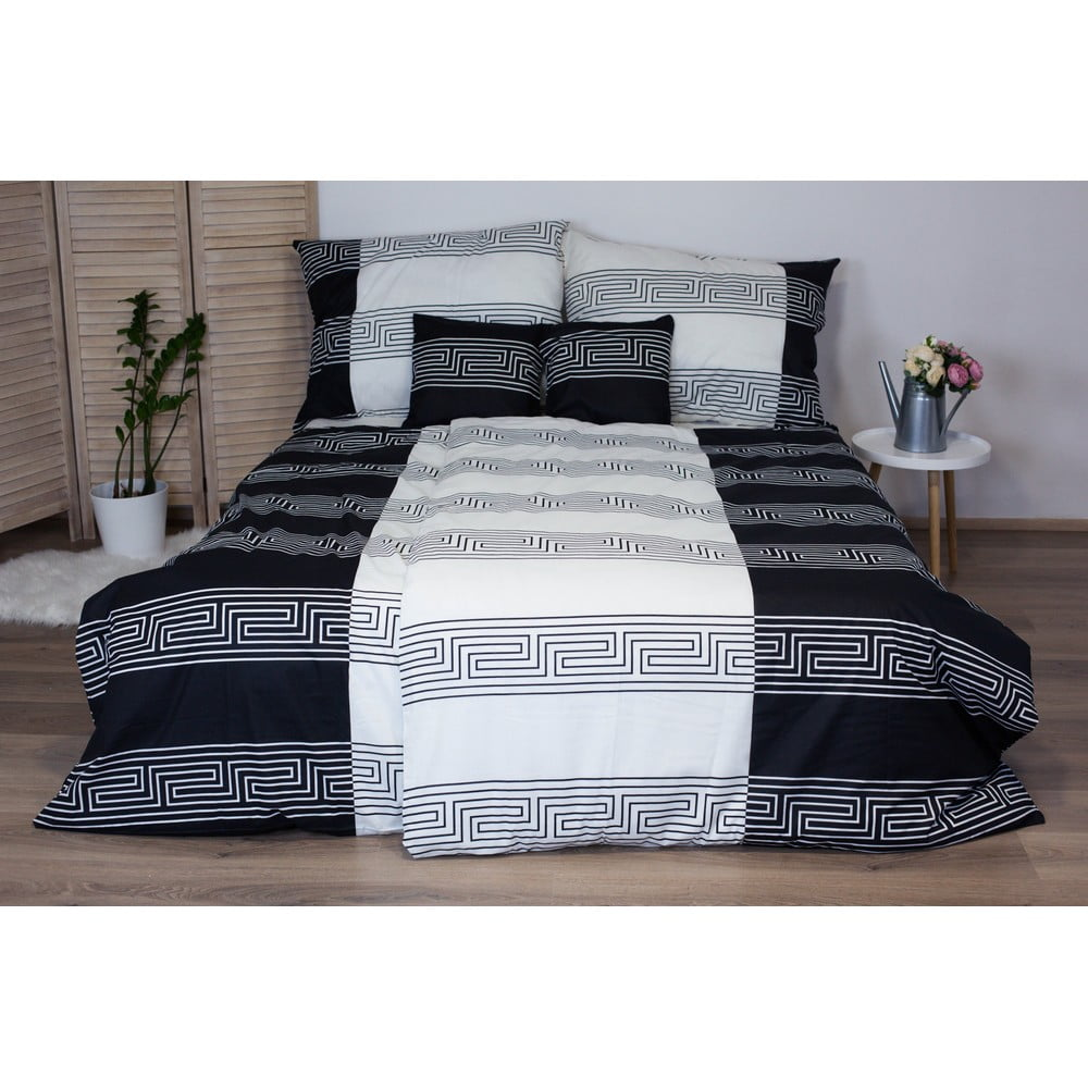 Čiernobiele bavlnené posteľné obliečky Cotton House Harmony, 140 x 200 cm