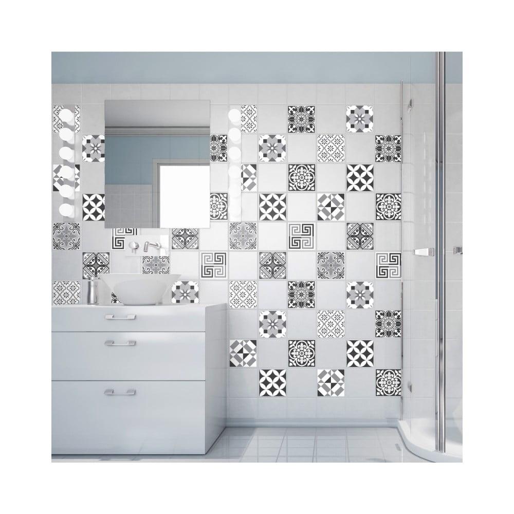 Sada 60 nástenných samolepiek Ambiance Wall Decals Elegant Tiles Shade of Grey, 20 × 20 cm
