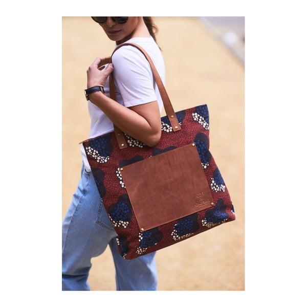 Červená kožená vintage maxi taška O My Bag Lou's Print