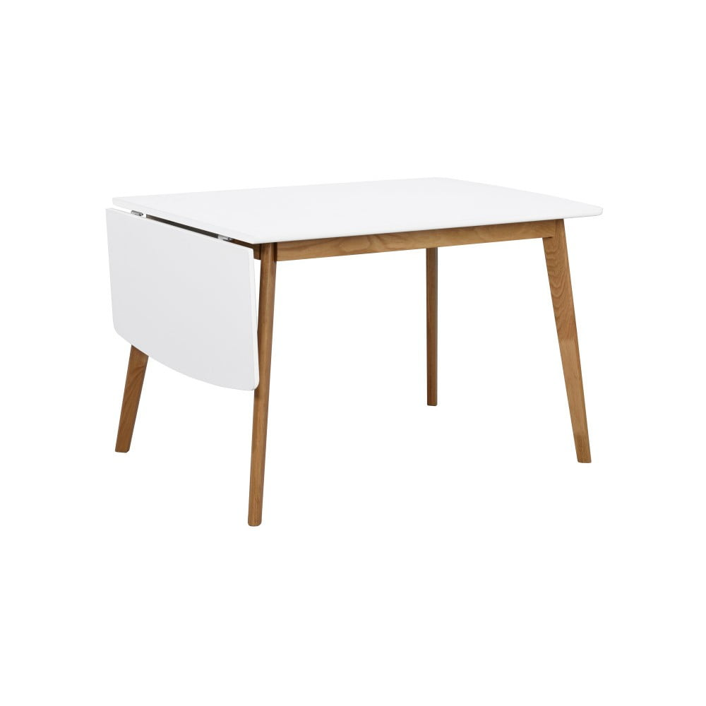 Jedálenský stôl s konštrukciou z dubového dreva so sklápacou doskou Folke Olivia, dĺžka 120 + 40 cm