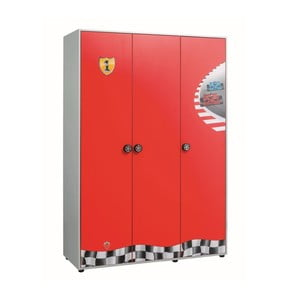 Červená šatníková skriňa Race Cup 3 Doors Wardrobe