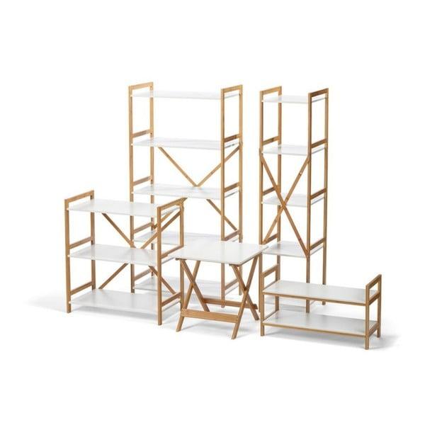 Biely úzky päťposchodový regál s bambusovou konštrukciou loomi.design Lora