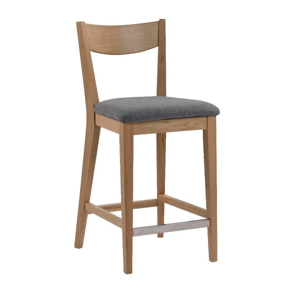 Hnedá barová stolička so sivým vankúšom na sedenie Folke Dylan