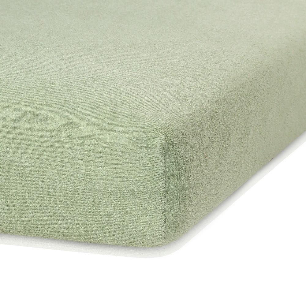 Olivovozelená elastická plachta s vysokým podielom bavlny AmeliaHome Ruby, 200 x 140-160 cm