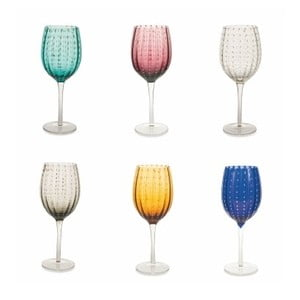 Sada 6 farebných pohárov na víno Villa d'Este Shiraz, 300 ml