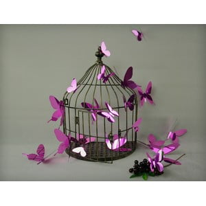 Sada 12 fialových adhezívnych 3D samolepiek Ambiance Butterflies