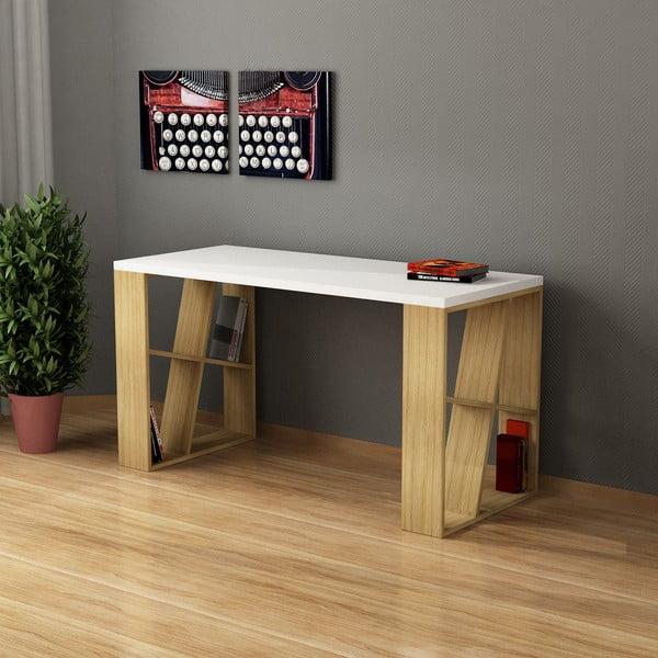 Stôl Honey, biela/dub