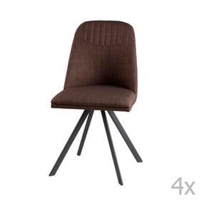 Sada 4 hnedých otočných jedálenských stoličiek sømcasa Cris