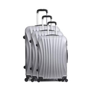 Sada 3 sivých cestovných kufrov na kolieskach Hero Bobby