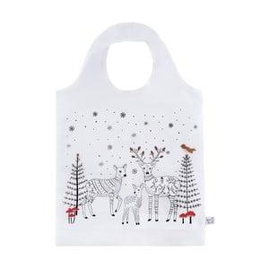 Biela nákupná taška s vianočným motívom Sass & Belle Winter Forest