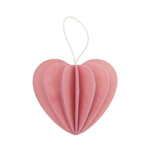 Skladacia pohľadnica Heart Light Pink, 4.5 cm