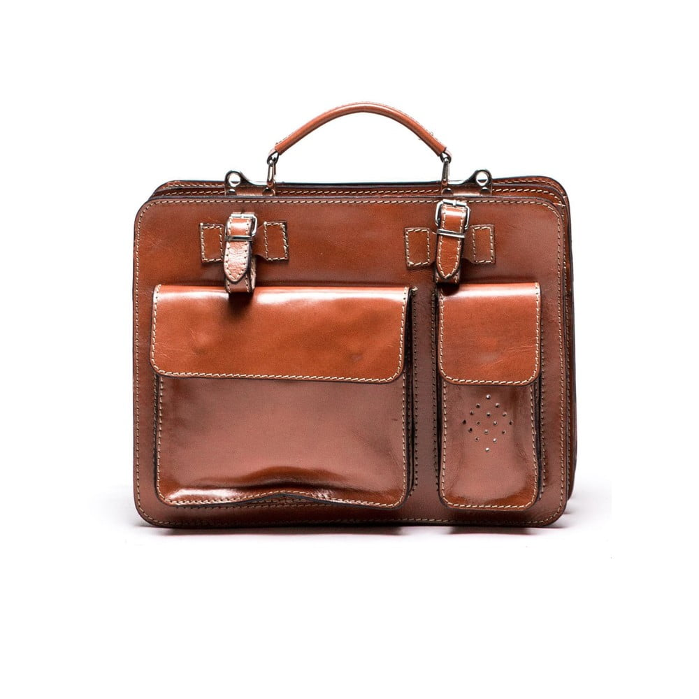 Hnedá kožená kabelka Luisa Vannini Gianna
