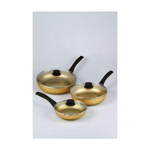 Sada 3 panvíc s pokrievkami Bisetti Stonegold Black Handles