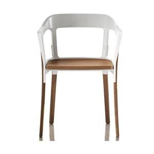 Biela stolička s nohami z masívneho buku Magis Steelwood