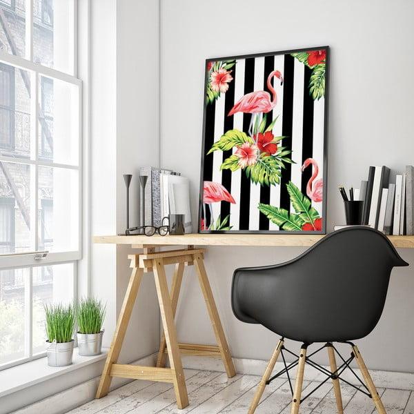 Plagát s pelikánmi a kvetmi, čierno-biele pozadie, 30 x 40 cm