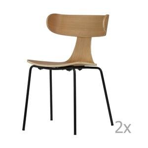 Sada 2 jedálenských stoličiek zo svetlej jaseňovej dyhy De Eekhoorn Form