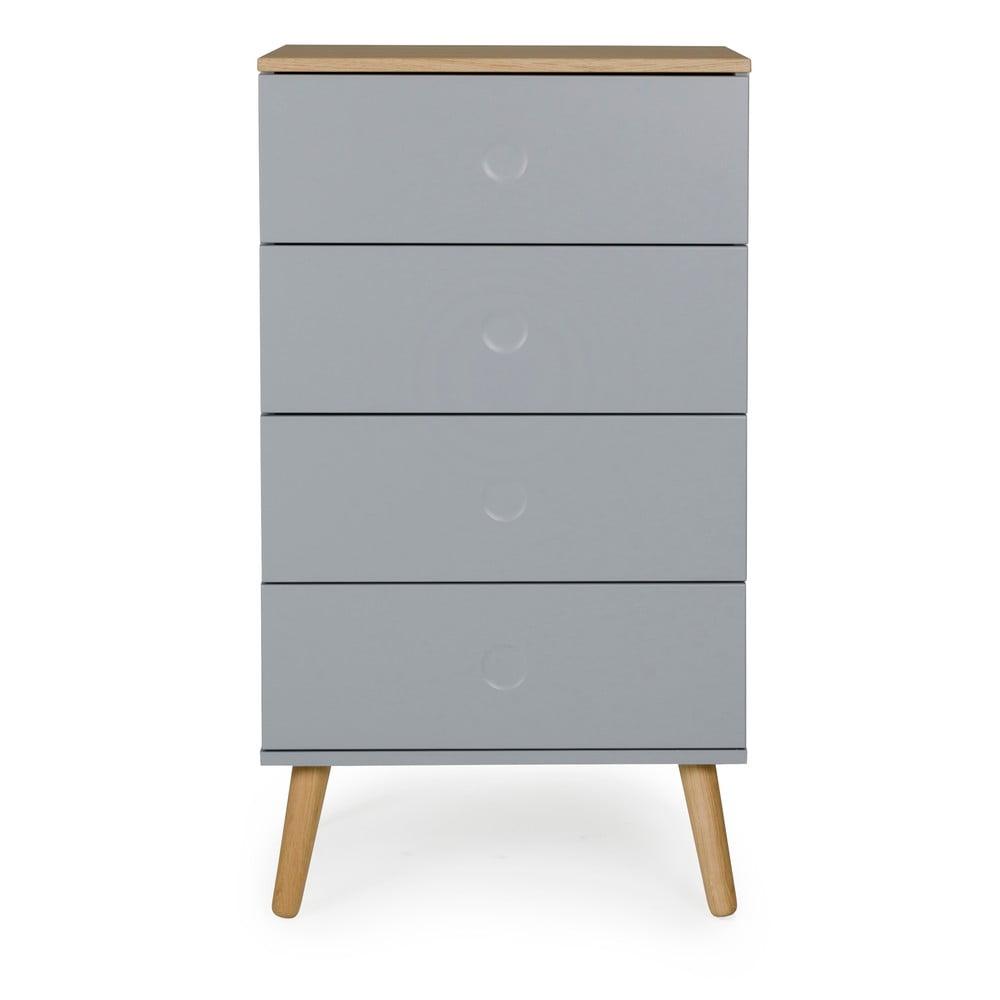 Sivá skrinka s detailmi v dekore dubového dreva Tenzo Dot, šírka 55 cm