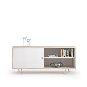 TV komoda v dekore brestového dreva s bielymi dvierkami Terraneo