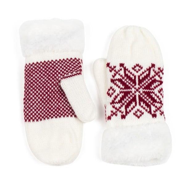 Biele rukavice Lola so vzorom
