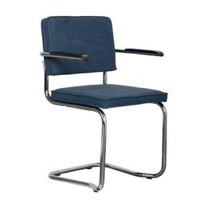 Sada 2 tmavomodrých stoličiek s opierkami Zuiver Ridge Kink Rib