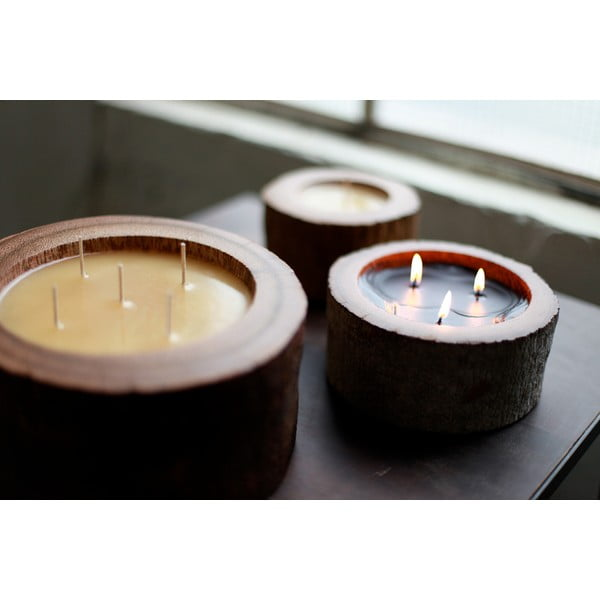 Palmová sviečka Legno Round s vôňou vanilky a pačuli, 80 hodín horenia