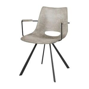 Sivá jedálenská stolička s čiernym podnožím a opierkami Canett Coronas