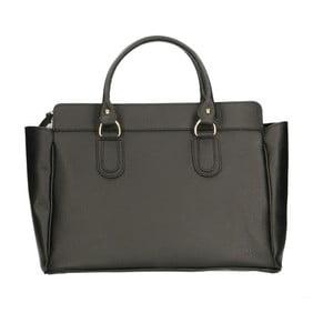 Čierna kožená kabelka Chicca Borse Basico