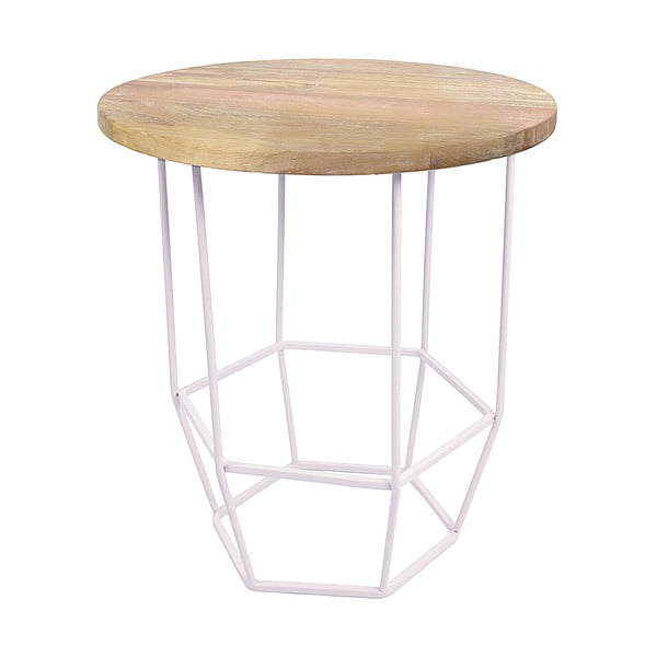 Biely stolík s doskou zmangového dreva HF Living Hexa White