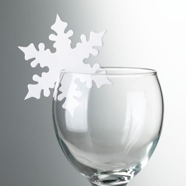 Sada 10 ozdôb na poháre Neviti White Snowflake