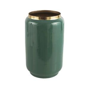 Zelená váza s detailom v zlatej farbe PT LIVING Flare, výška 22 cm