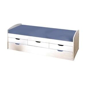 Biela drevená posteľ s úložným priestorom 13Casa Art Moon, 90 x 190 cm