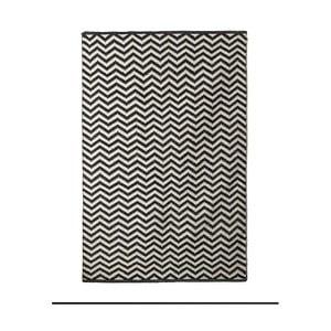 Čierno-biely bavlnený ručne tkaný koberec Pipsa Zigzag, 140×200 cm