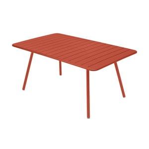Oranžovočervený kovový jedálenský stôl Fermob Luxembourg